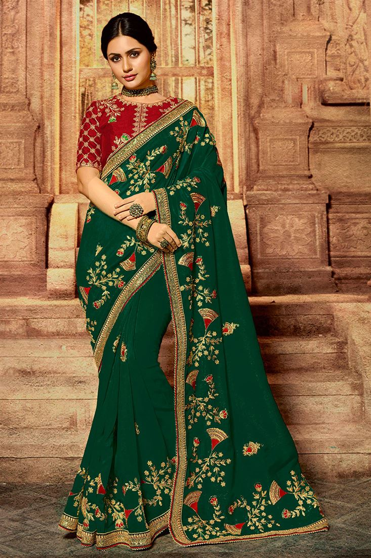 Entrancing Green Colour Zari Silk Designer Wedding Wear Saree