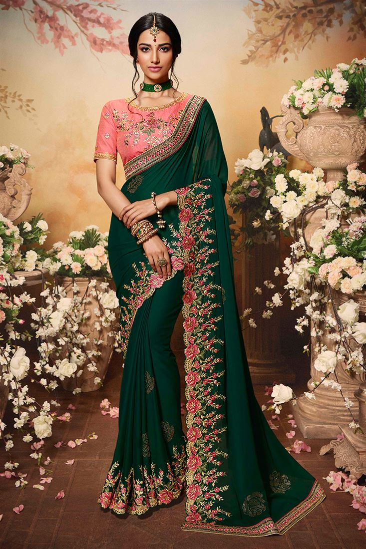 Elegant Bottle Green Color Silk Georgette Designer Wedding Wear Saree