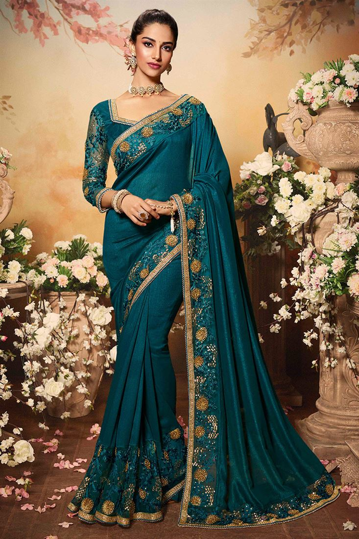 Glitzy Dark Ocean Blue Color Vichitra Silk Fabric Designer Party Wear Saree
