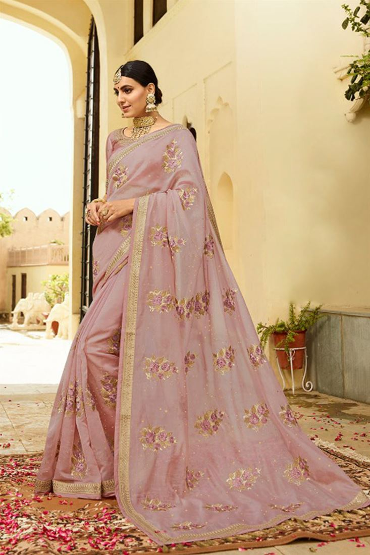 3216eab2c13abb Stunning Light Pink Colour Organza Silk Fabric Designer Saree With ...