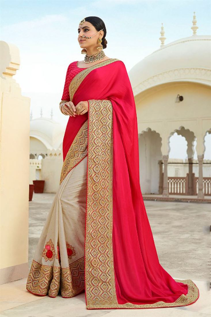 Ravishing Red & Off White Colour Satin Silk Fabric Designer Saree With Embroidered Blouse
