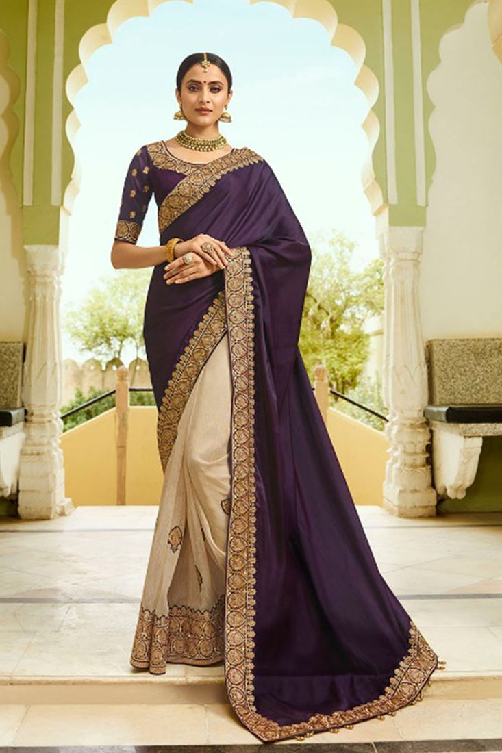 Dark Purple & Beige Colour Satin Silk & Tissue Fabric Designer Saree With Embroidered Blouse