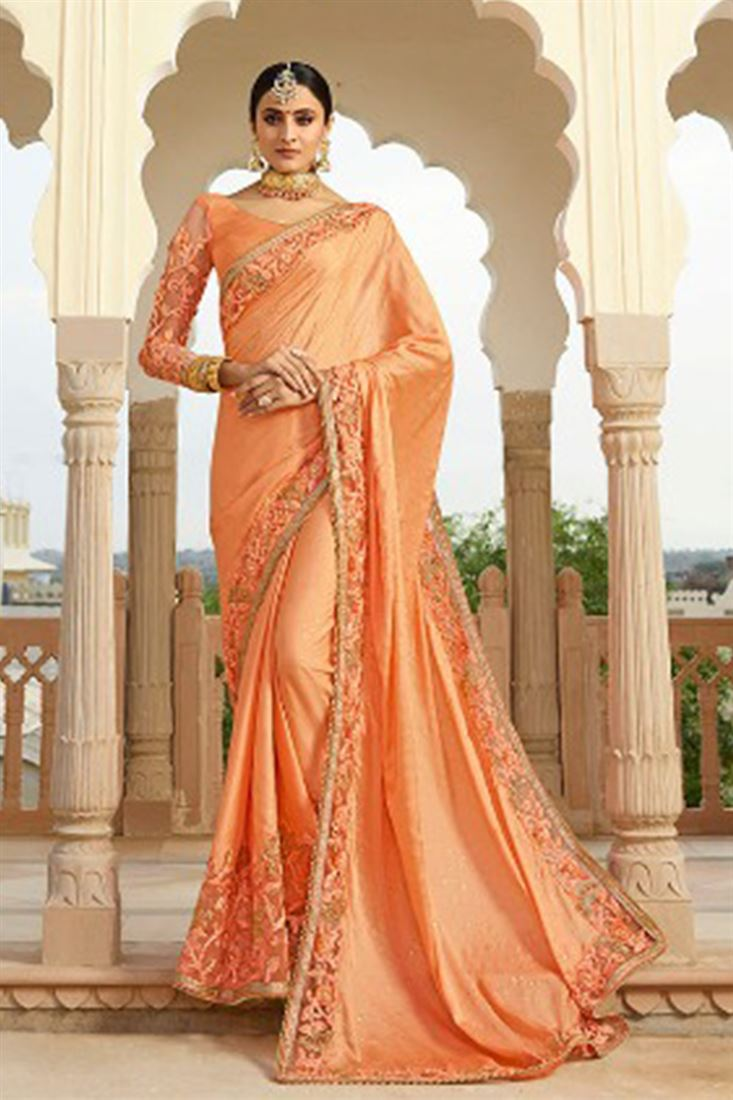 14e0b8e8cf7d2f Light Salmon Colour Satin Silk Fabric Designer Saree With ...