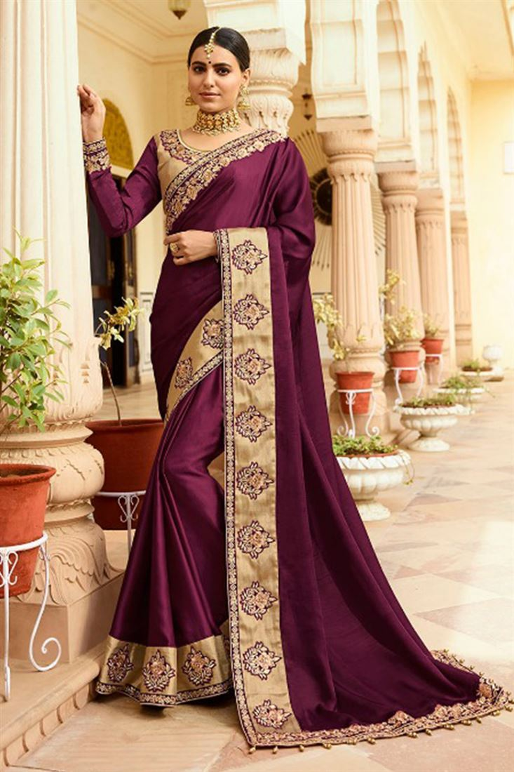 Wine Colour Satin Silk Fabric Designer Saree With Embroidered Blouse