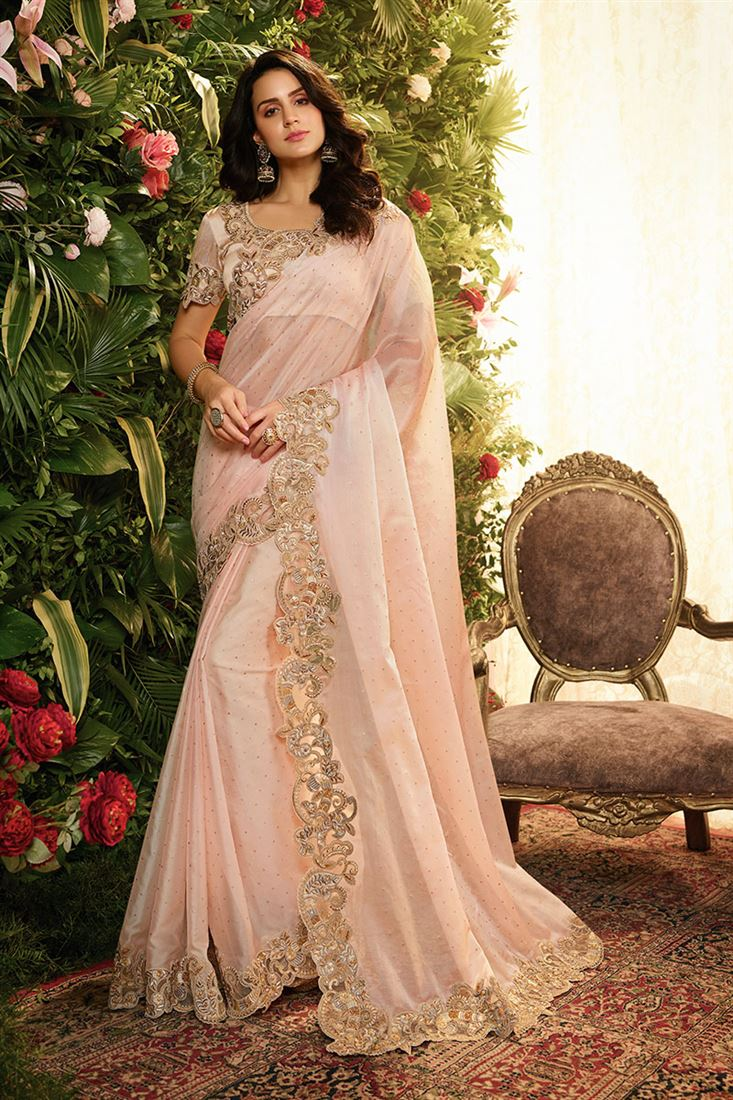 Light Pink Colour Pure Silk Fabric Designer Party Wear Saree With Pure Dhupion Blouse