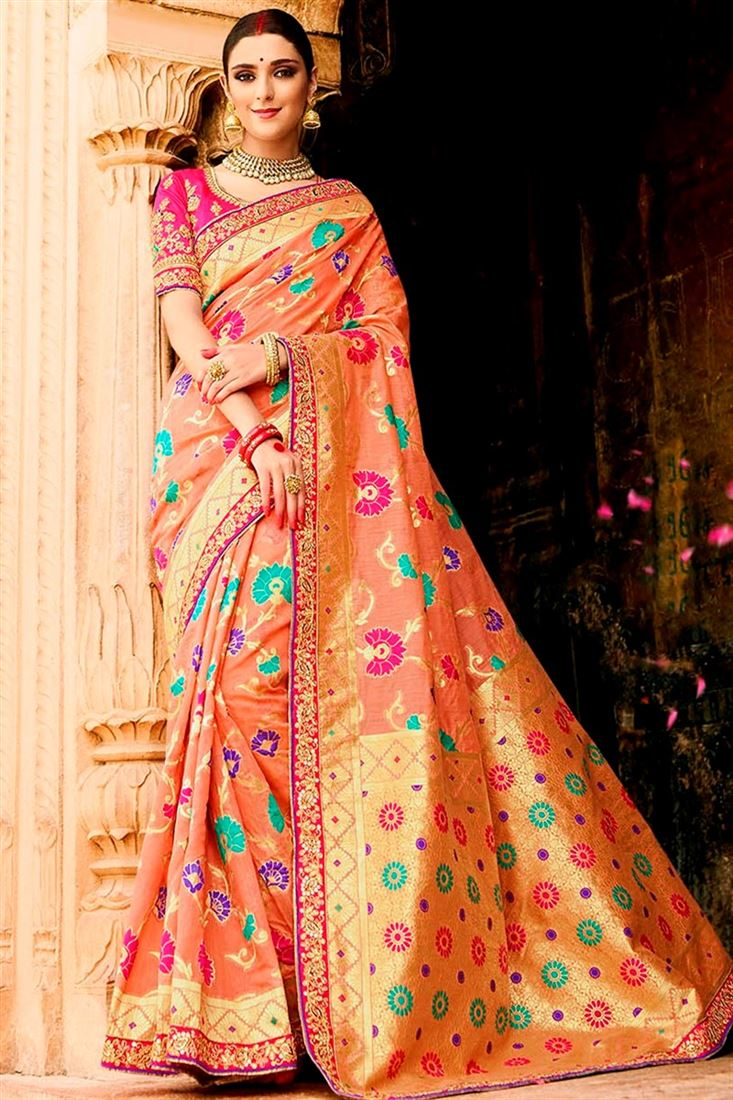 Sulakshmi Peach Color Cotton Silk Jacquard Designer Saree