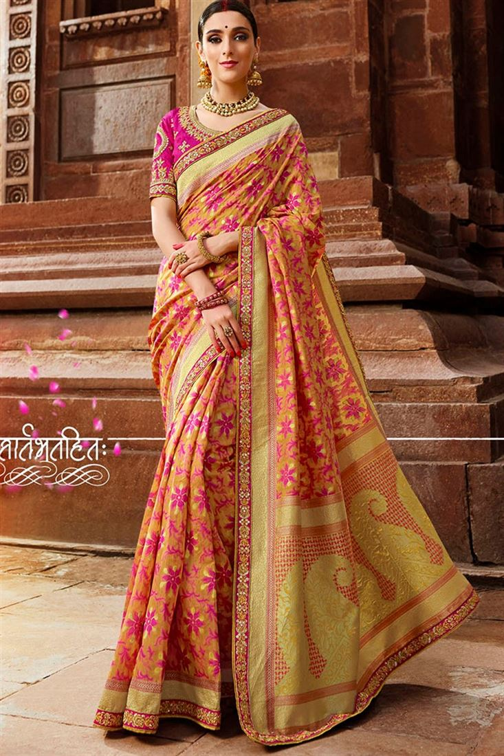 Sulakshmi Fabulous Yellow & Pink Coloured Cotton Silk Jacquard Designer Saree