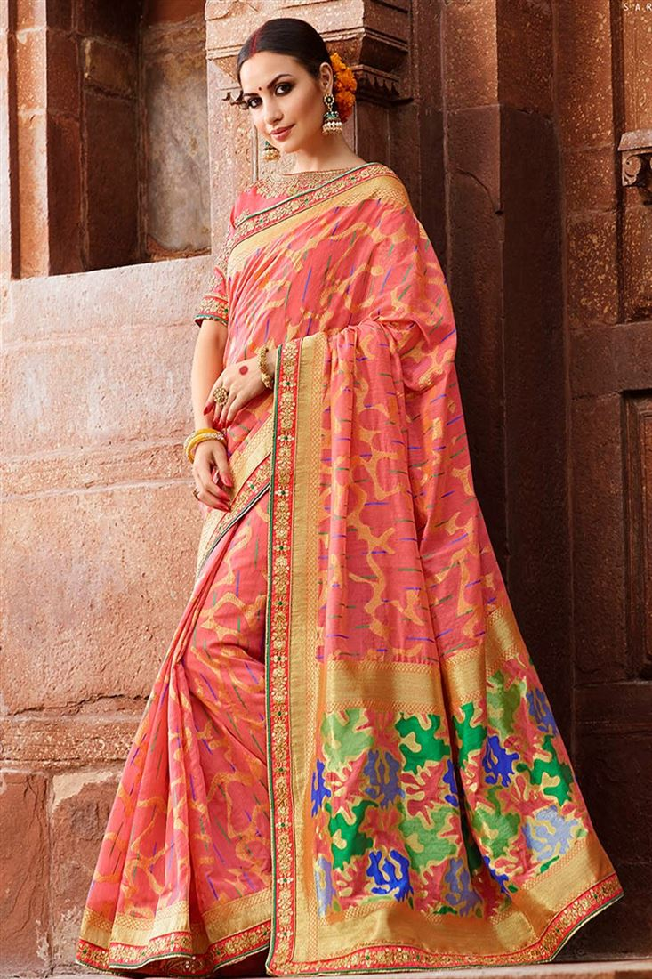 Sulakshmi Beautiful Pink Coloured Cotton Silk Jacquard Designer Saree