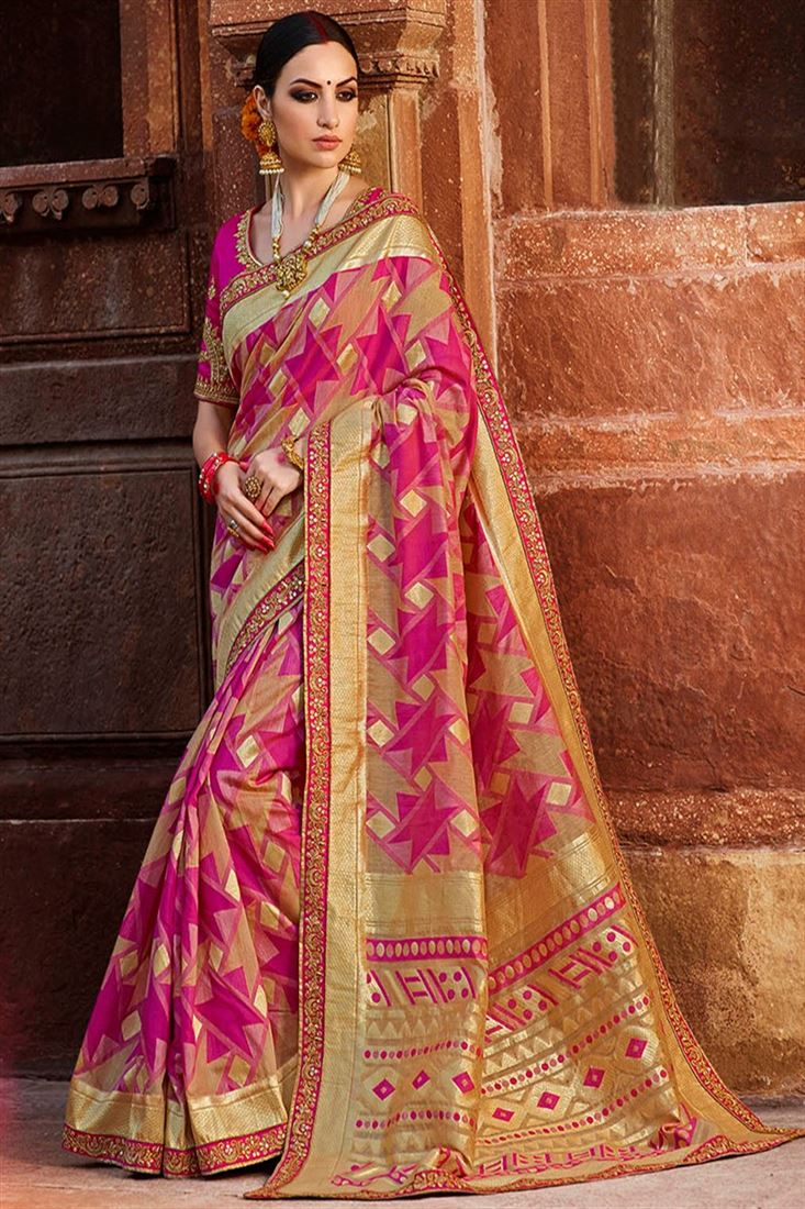 Sulakshmi Blissful Pink & Gold Coloured Cotton Silk Jacquard Designer Saree