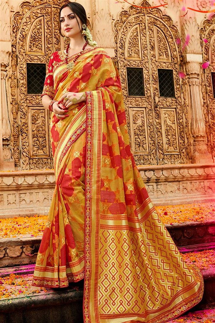 Sulakshmi Glitzy Golden & Red Coloured Silk Jacquard Designer Saree