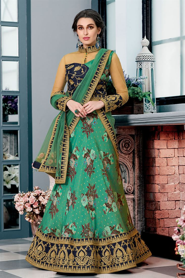 Lalgulal Turquoise Colour Pure Modal Silk Fabric Designer Wedding Wear Digital Printed Lehenga Choli