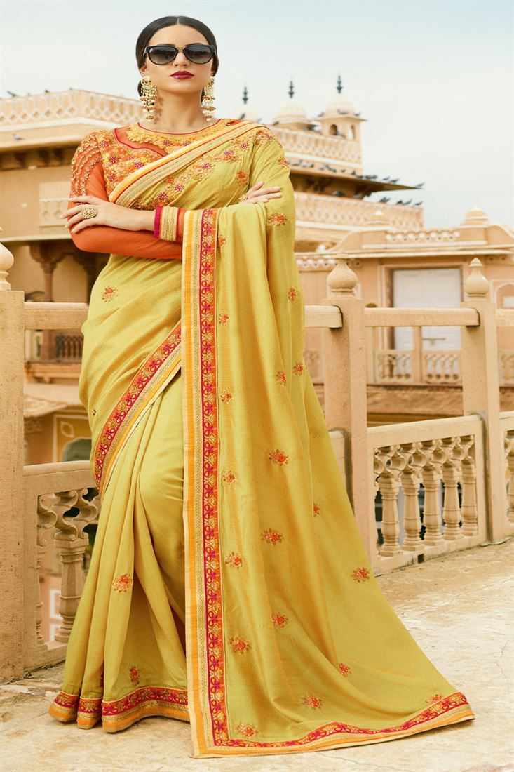 Sakshi Softy Silk Fabric Golden Orange Orange Color Saree