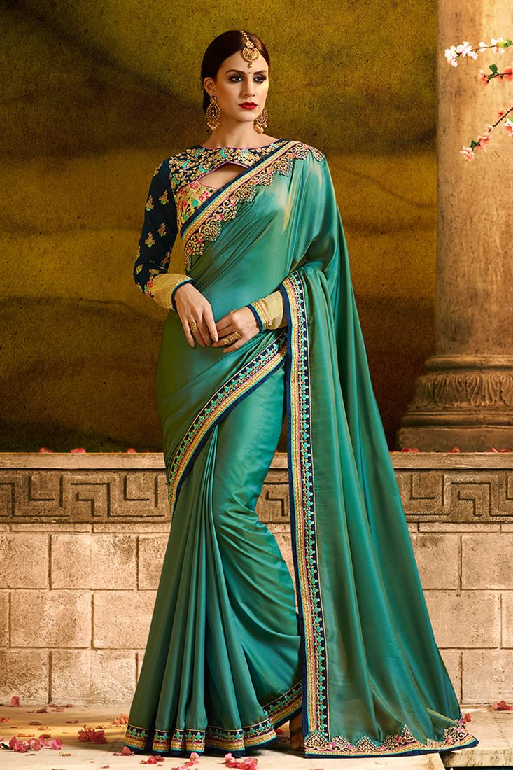 23bb0ef6f2 Parrot Green Colour Barfi Silk Fabric Designer Party Wear Saree With ...