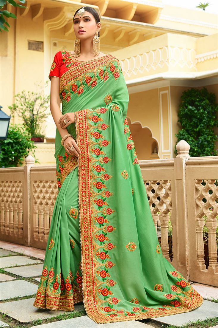 Shilp Sea Green Colour Silk Fabric Designer Saree With Embroidered Blouse