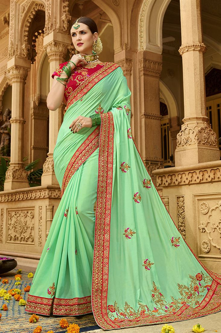 Shilp Green Colour Silk Fabric Designer Saree With Embroidered Blouse