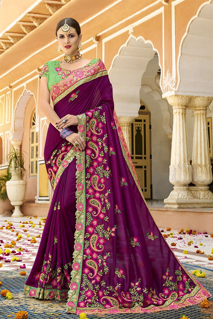 Shilp Dark Purple Colour Silk Fabric Designer Saree With Embroidered Blouse