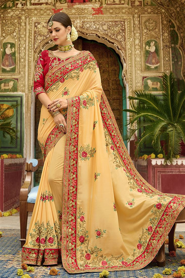 Shilp Mustard Yellow Colour Silk Fabric Designer Saree With Embroidered Blouse