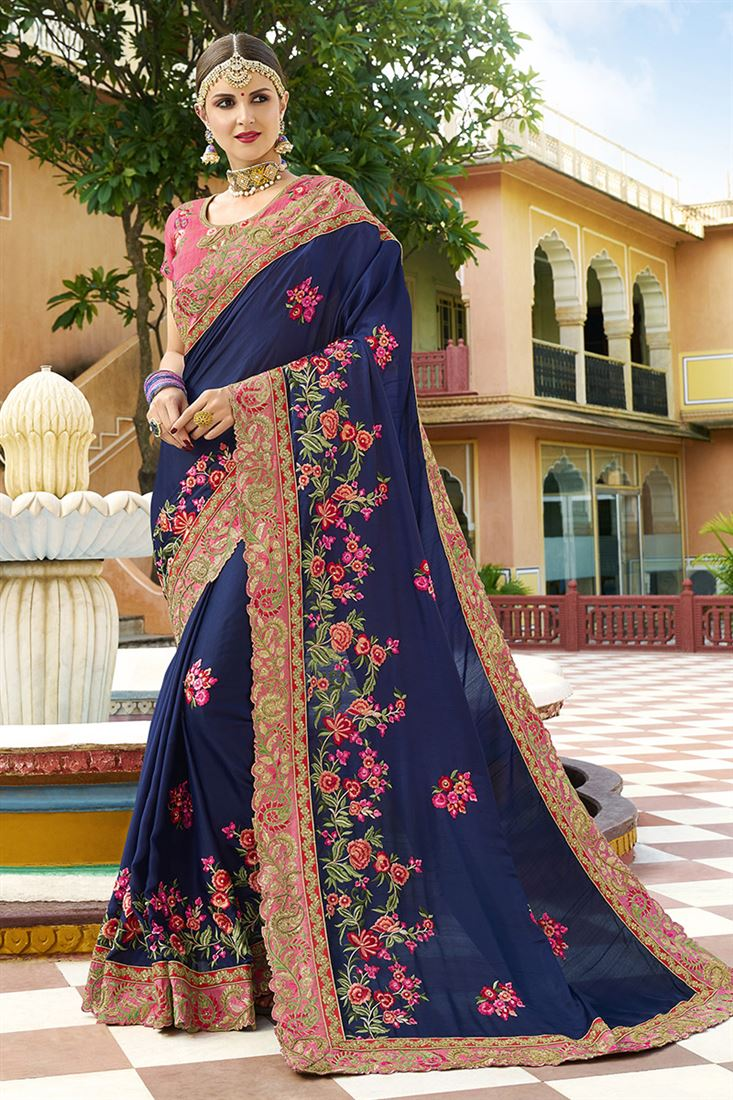 Shilp Blue Colour Silk Fabric Designer Saree With Embroidered Blouse