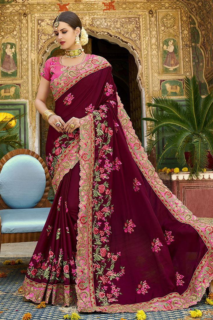 Shilp Maroon Colour Silk Fabric Designer Saree With Embroidered Blouse