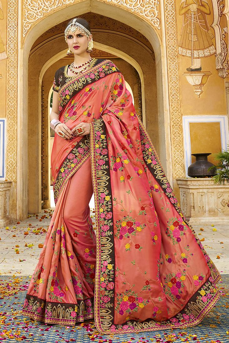 Shilp Crimson Colour Silk Fabric Designer Saree With Embroidered Blouse