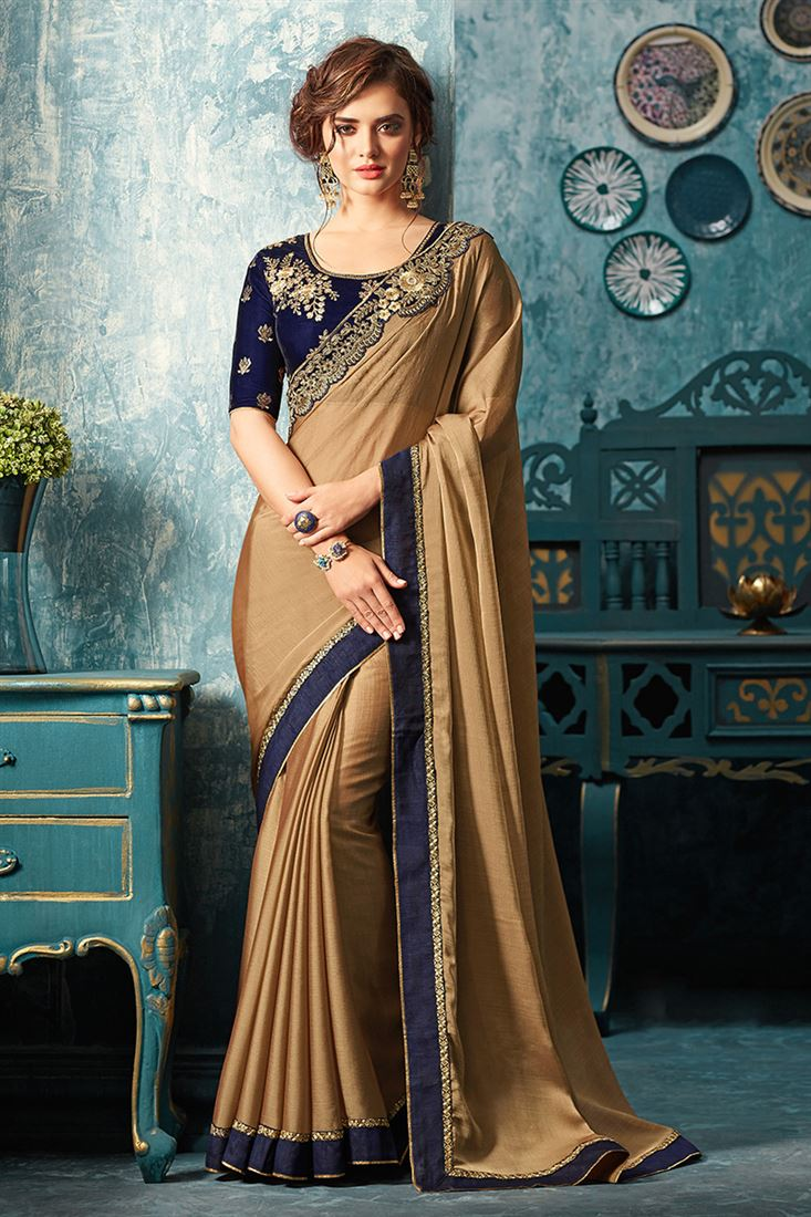 Sandal Wood Chikoo Colour Silk Chiffon Heavy Designer Blouse Party Wear Saree