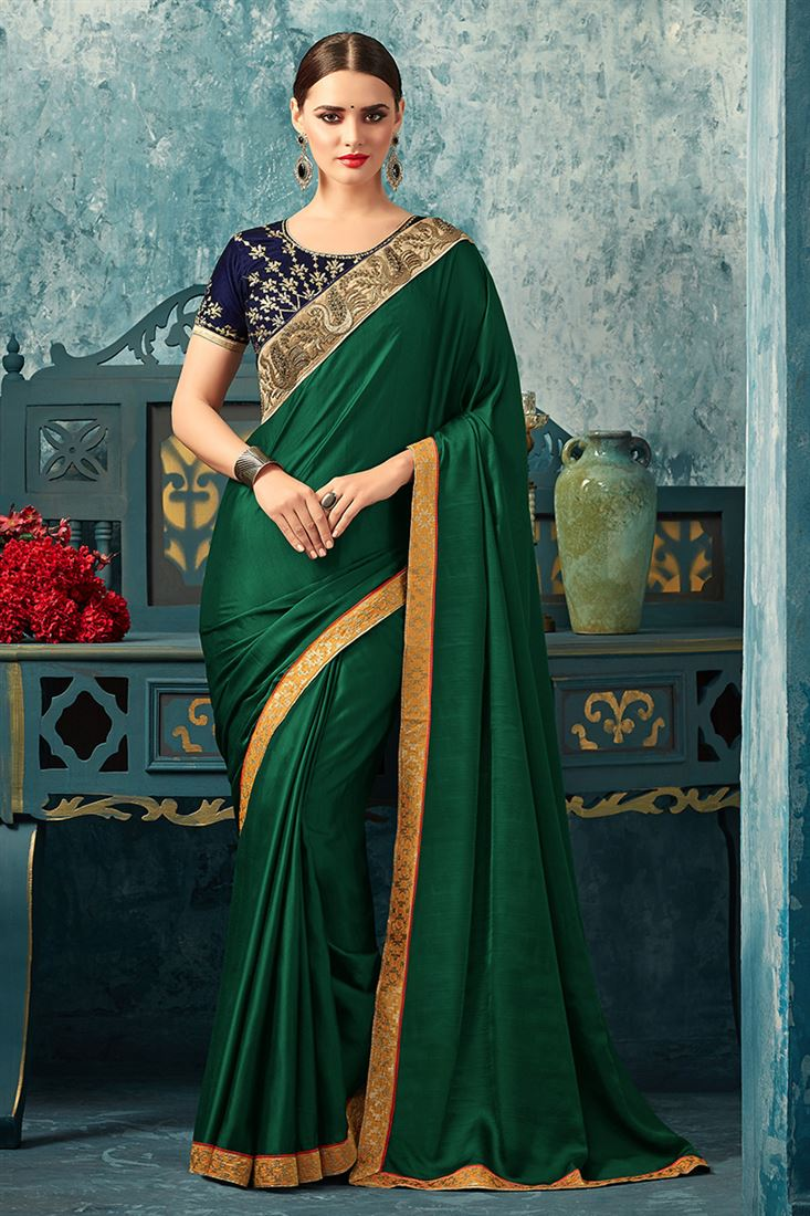 Sandal Wood Bottle Green Colour Monarch Silk Party Wear With Designer Blouse