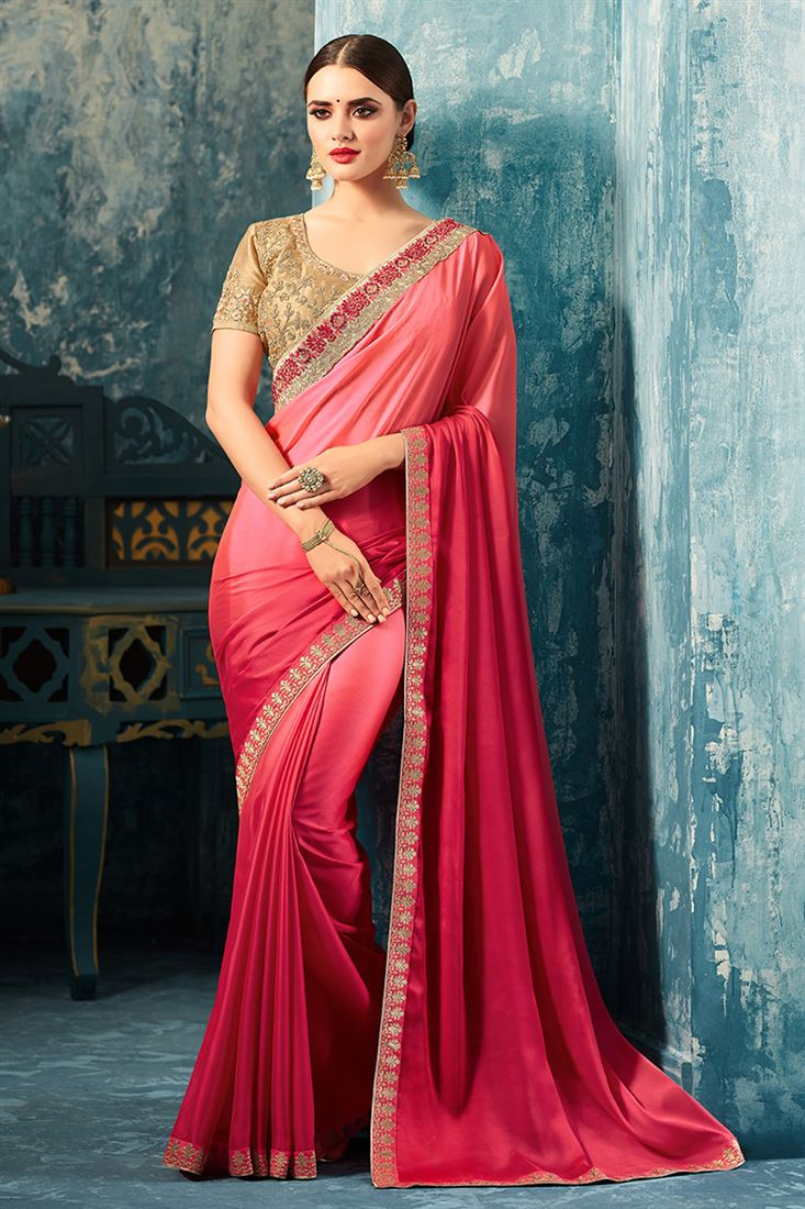 Sandal Wood Crimson Colour Silk Georgette Party Wear Saree With Embroidered Blouse