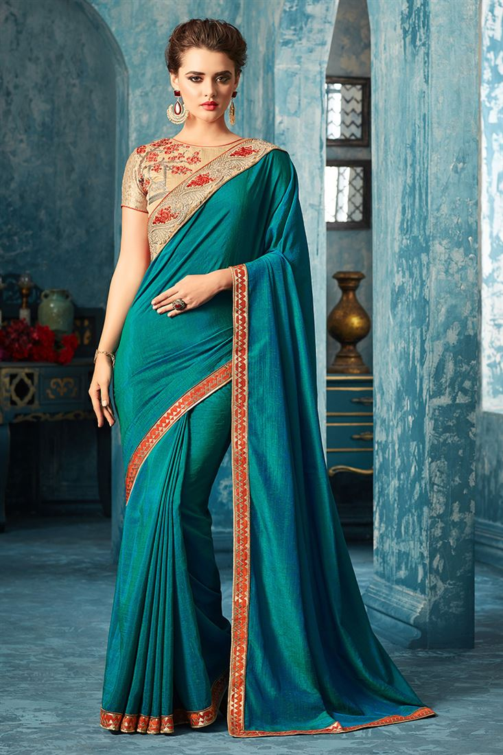 Sandal Wood Teal Colour Fantacy Silk Party Wear With Designer Embroidered Blouse