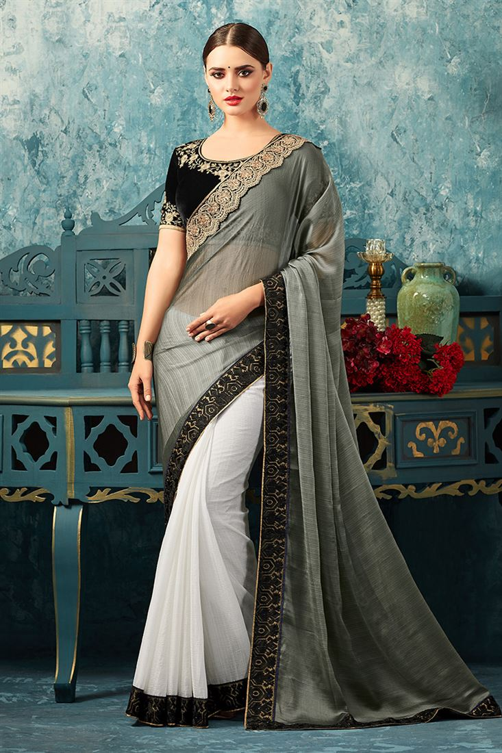 Sandal Wood Grey & White Colour Korian Silk Chiffon Saree With Fancy Embroidered Blouse