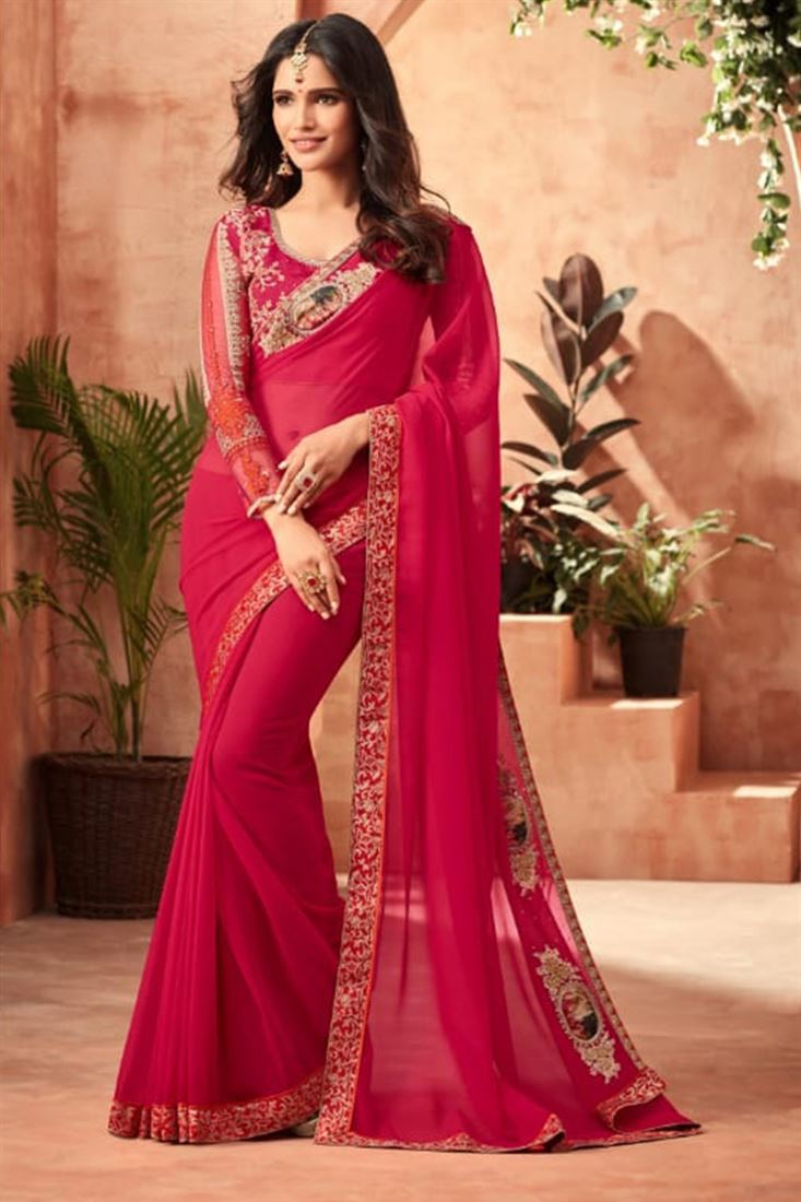 Sandal Wood Dark Red Colour Star Georgette Fabric Heavy Designer Blouse Party Wear Saree