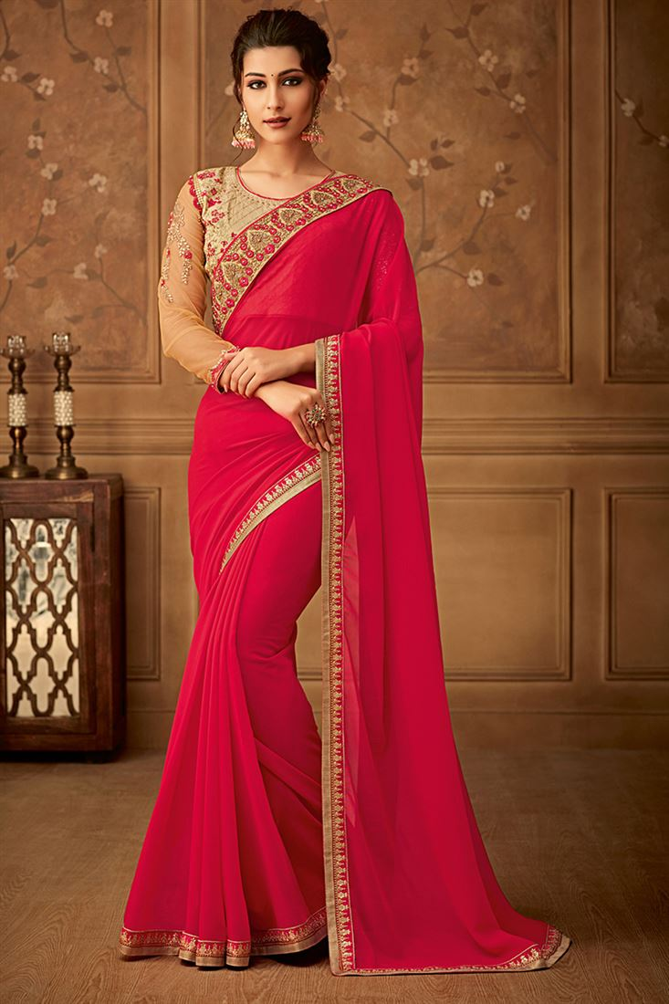 Sandal Wood Red Colour Georgette Party Wear Saree With Fancy Embroidered Blouse
