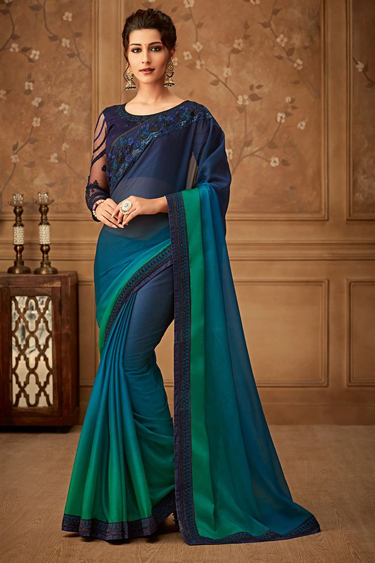 Sandal Wood Deep Rama & Teal Colour Organic Silk Chiffon Party Wear Saree With Fancy Embroidered Blouse