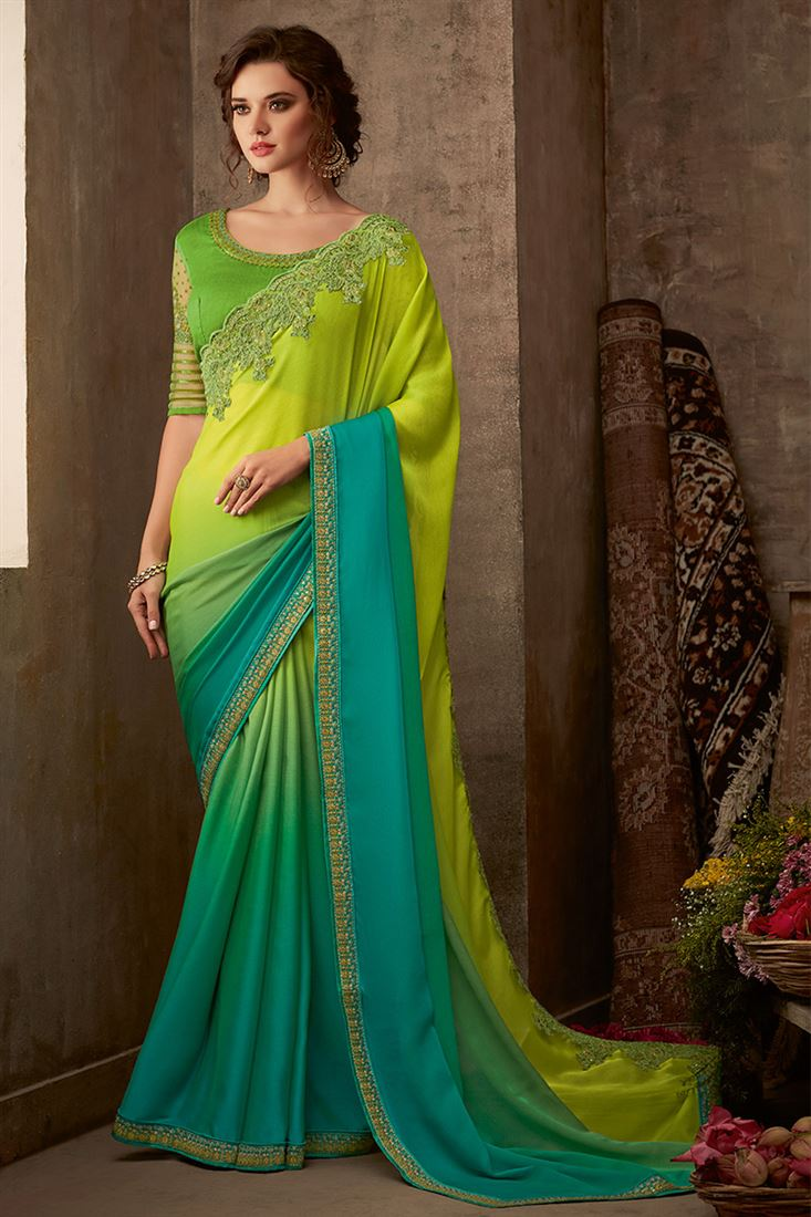 Sandal Wood Lemon Green & Turquoise Silk Chiffon Fabric Designer Blouse Party Wear Saree