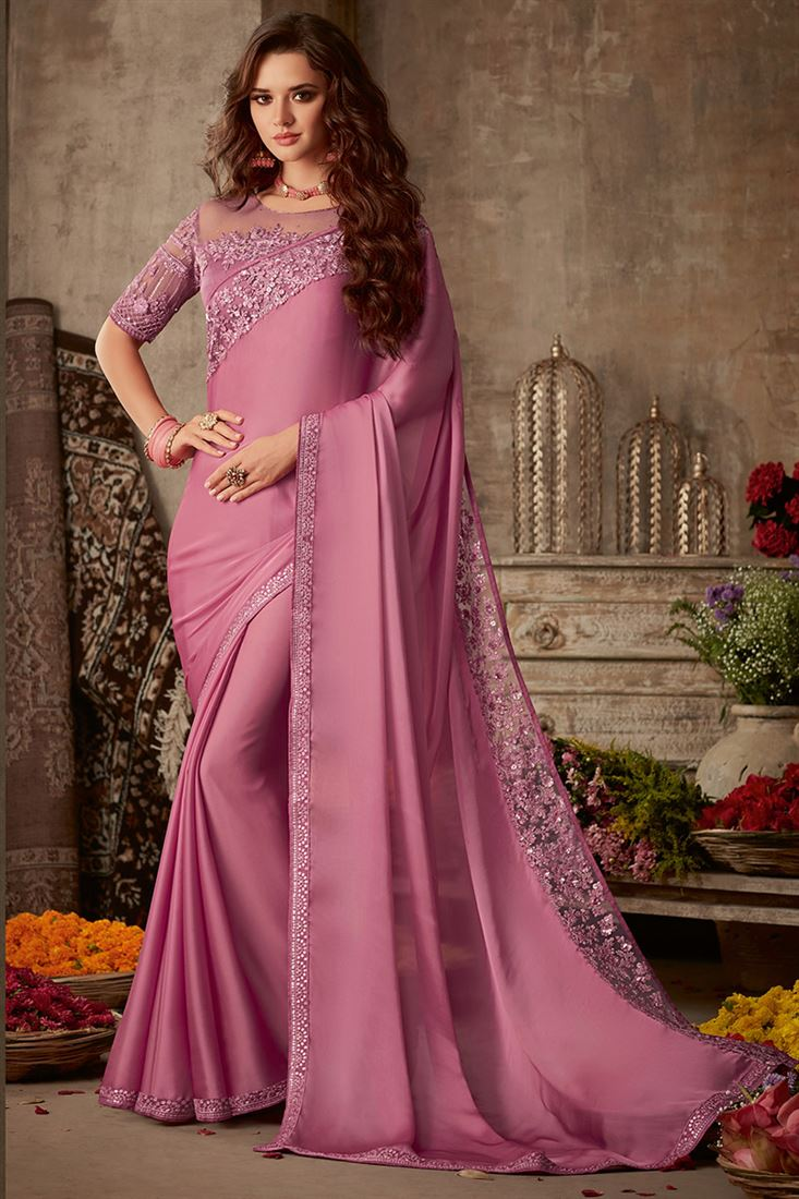 Sandal Wood Violet Colour Silk Saree With Fancy Embroidered Blouse