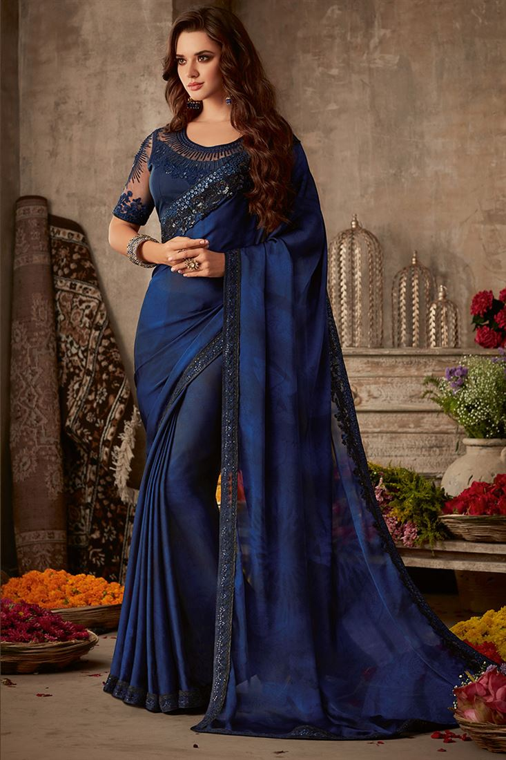 Sandal Wood Navy Blue Colour Sunshine Silk Party Wear With Designer Embroidered Blouse