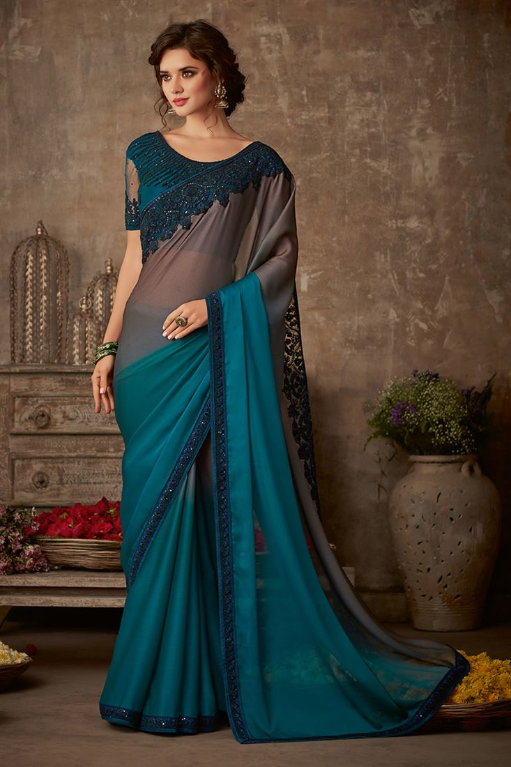 Sandal Wood Deep Rama & Grey Colour Organic Silk Chiffon Saree With Designer Embroidered Blouse