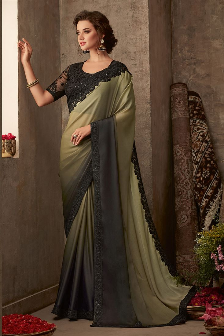 Sandal Wood Black & Cream Colour Organic Silk Chiffon Saree With Designer Embroidered Blouse