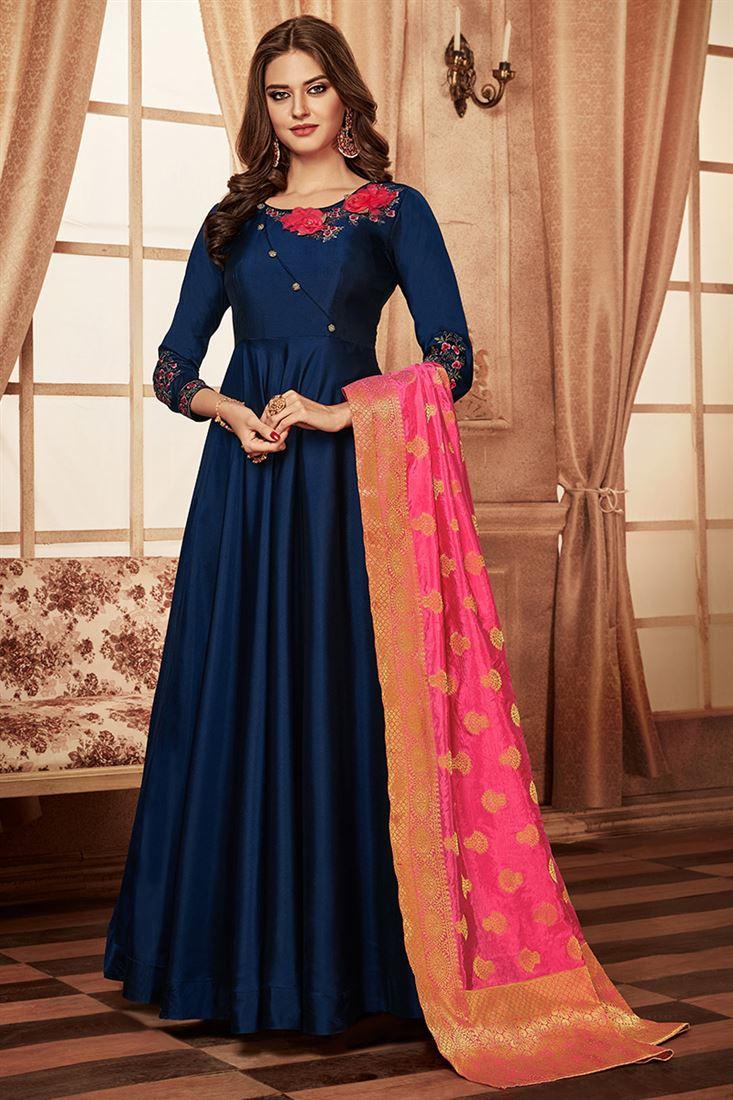 Blue Colour Designer Party Wear Tapeta Silk Gown With Jacquard Dupatta