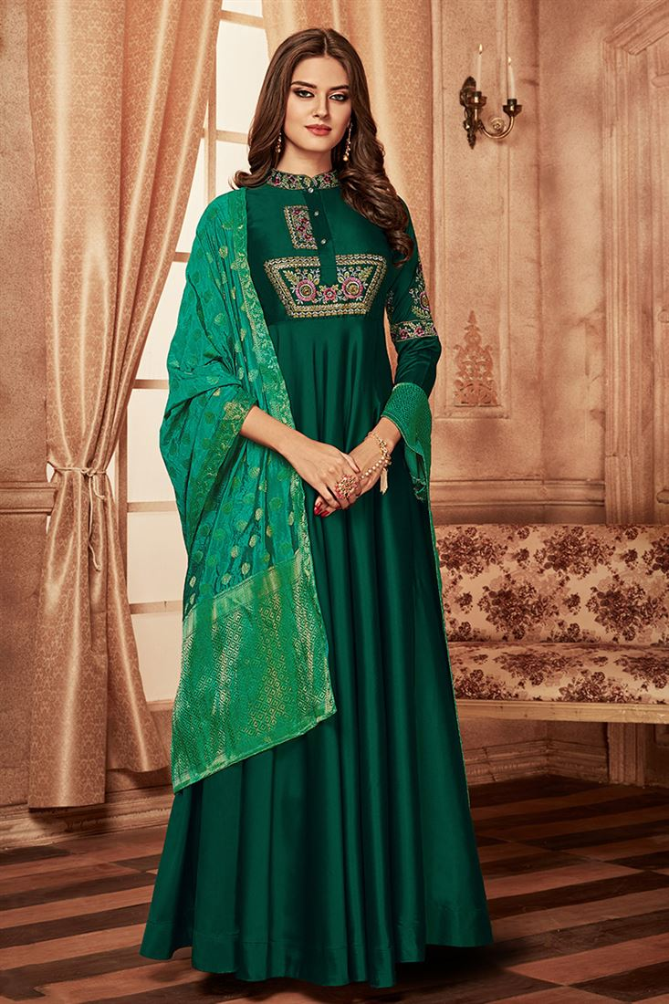 Green Colour Occasional Wear Tapeta Silk Gown With Jacquard Dupatta