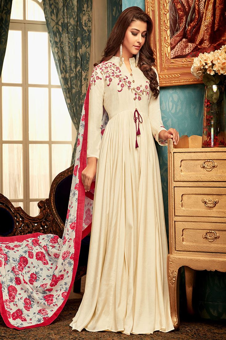 Cream Colour Masline Fabric  Designer Party Wear Gown With Digital Print Dupatta