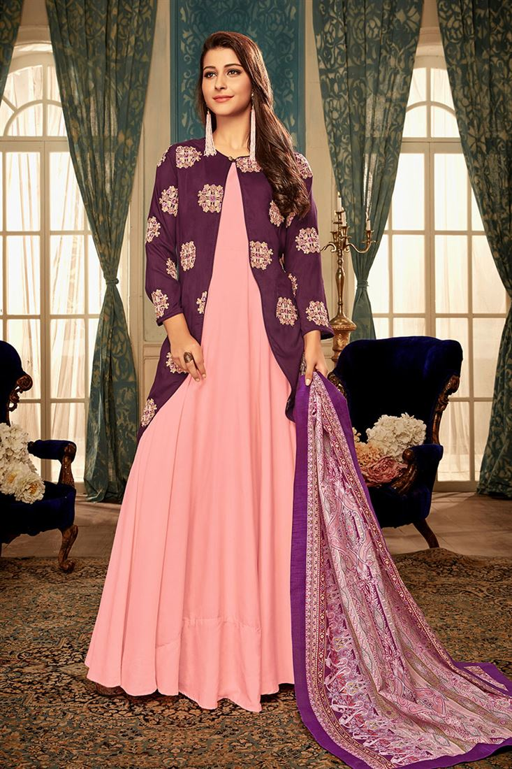 Pink Colour Masline Fabric  Designer Party Wear Gown With Digital Print Dupatta