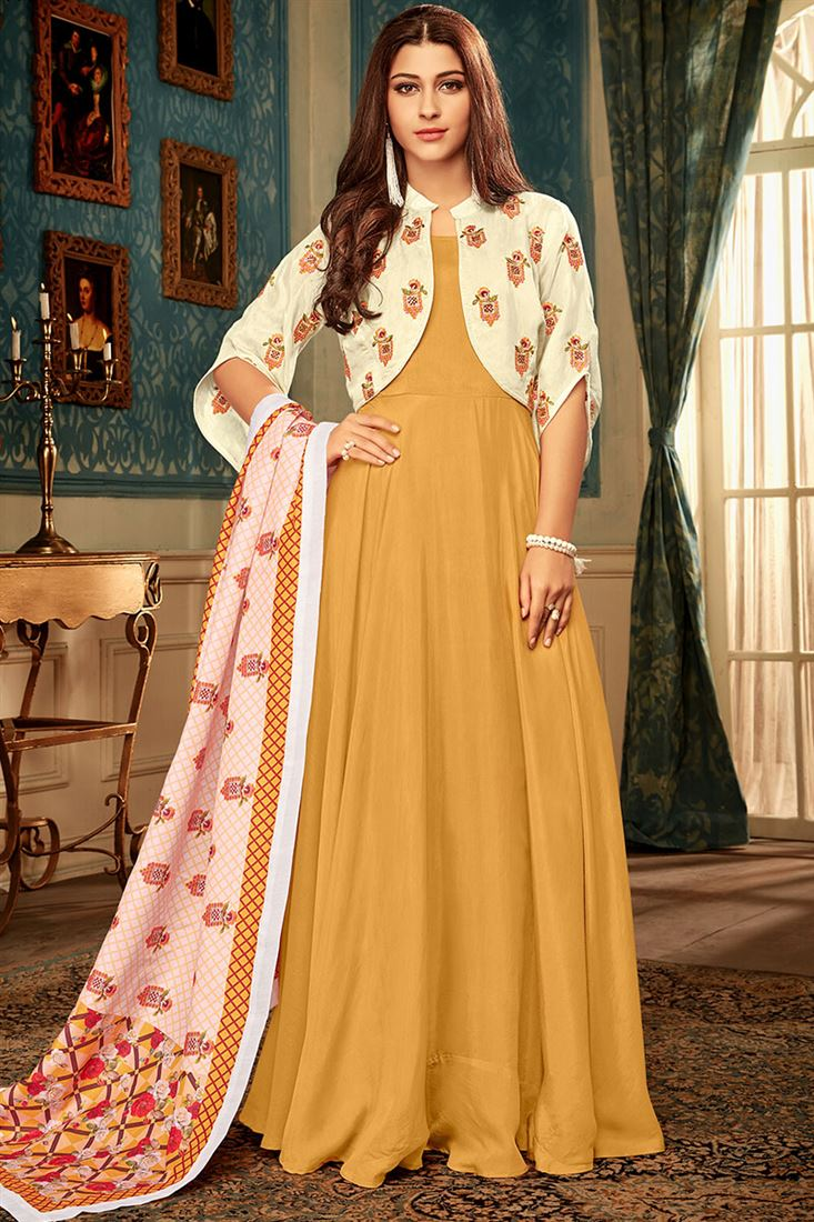 Mustard Colour Masline Fabric  Designer Party Wear Gown With Digital Print Dupatta