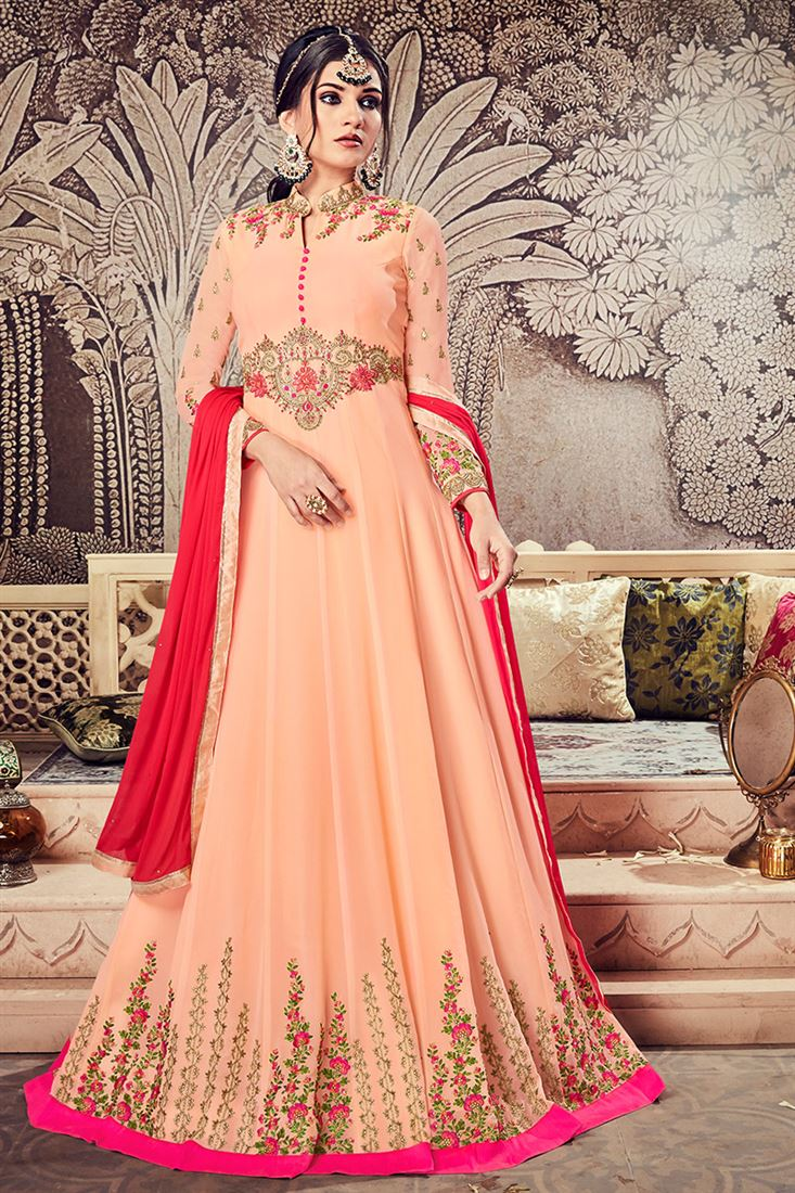 Lovable Peach Colour Georgette Designer Embroidered Long Salwar Suit