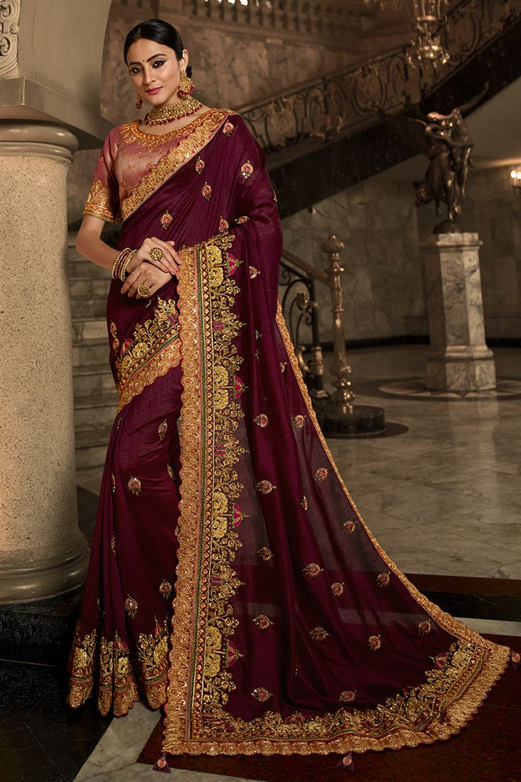 Palash Maroon Colour Heavy Silk Saree With Designer Embroidered Blouse