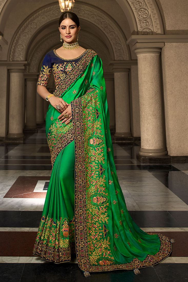 Palash Green Colour Heavy Silk Saree With Designer Embroidered Blouse