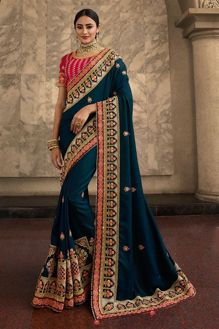 Palash Blue Colour Heavy Silk Saree With Designer Embroidered Blouse