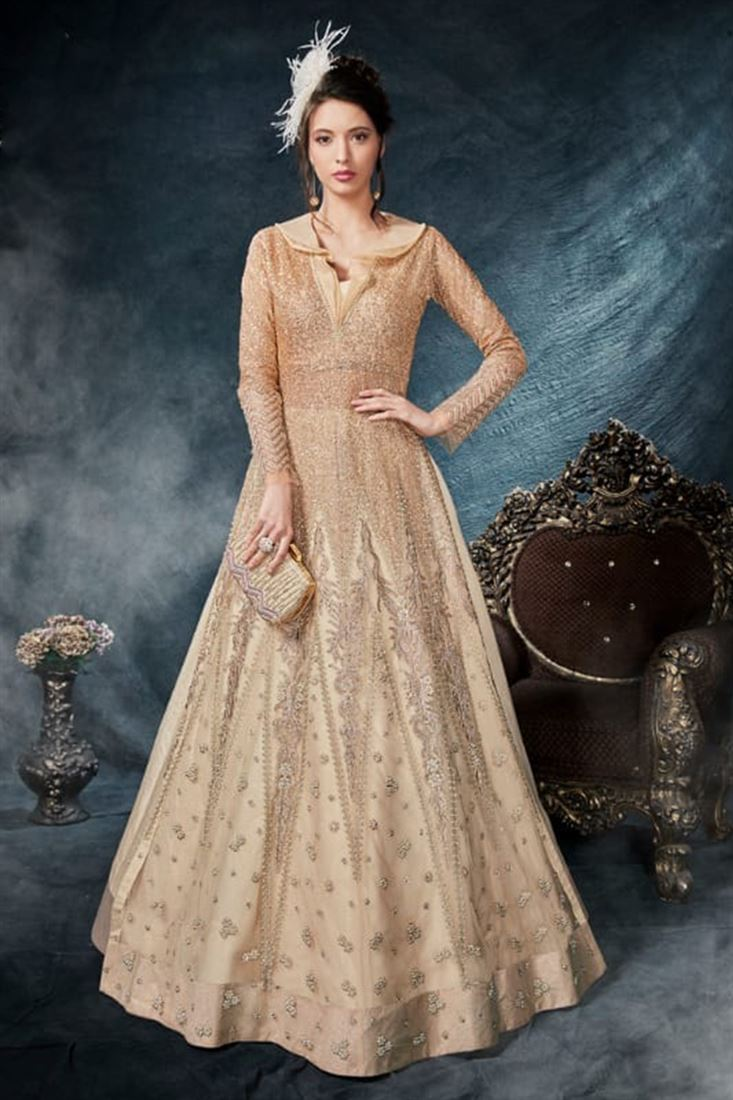 Celebrations Attractive Beige Colour Net Designer Indo Wester Style Suit
