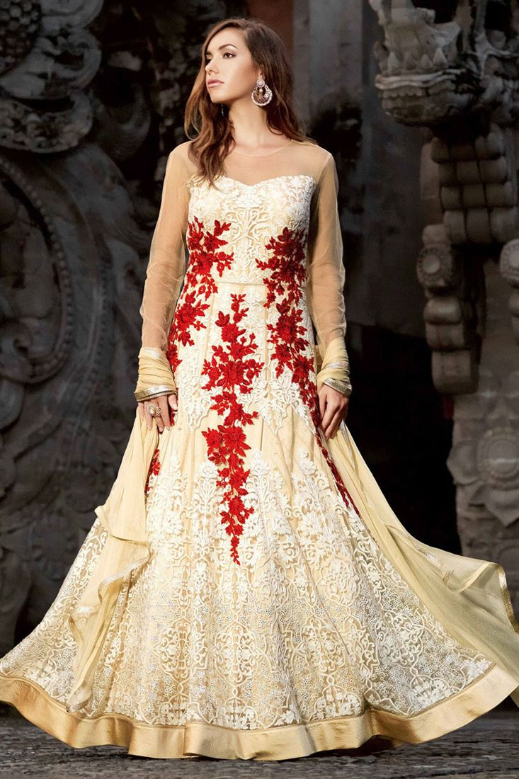 Beige-Red Embroidery Net Semi-Stitch Traditional Designer Gown