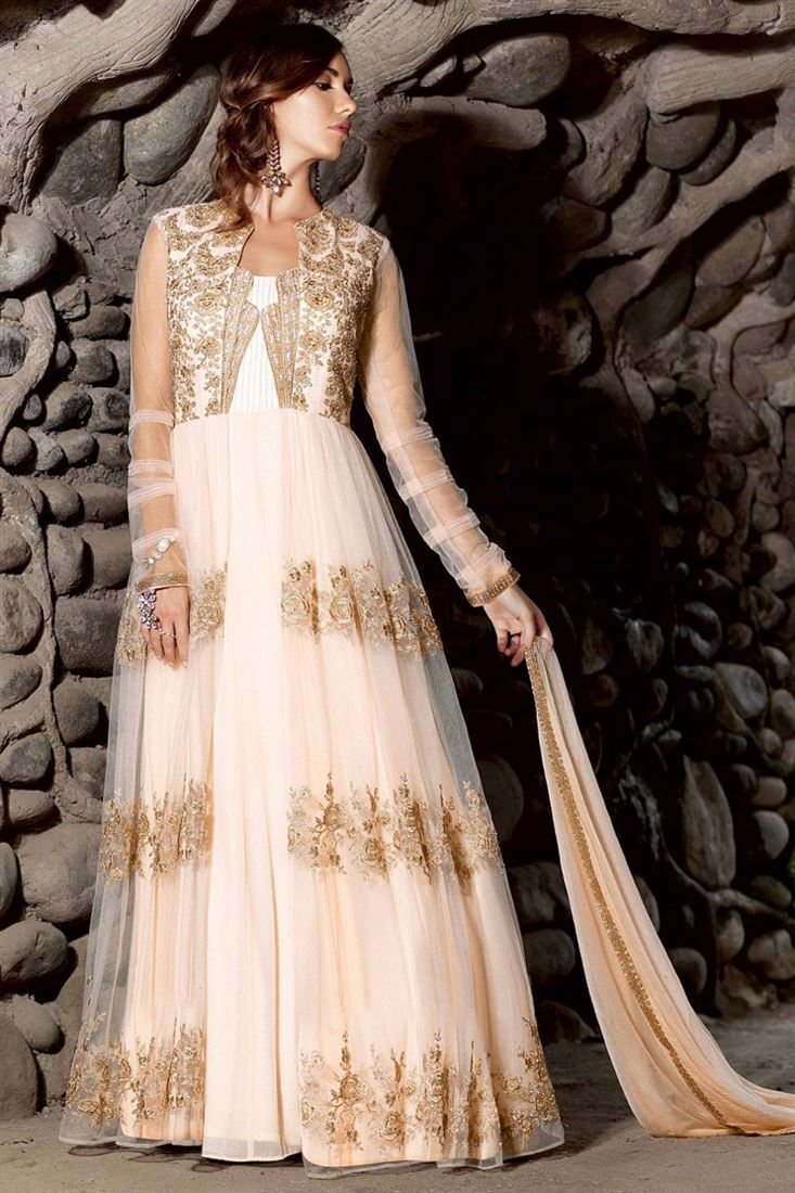 Cream with Golden Embroidery Net-Georgette Semi-Stitch Traditional ...